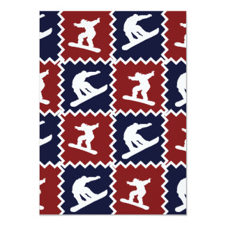 Cool Snowboarding Red Blue Square Pattern Card