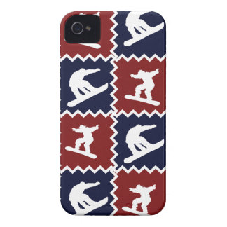 Cool Snowboarding Red Blue Square Pattern iPhone 4 Cases