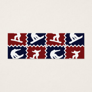 Cool Snowboarding Red Blue Square Pattern Mini Business Card