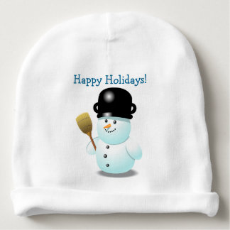 Cool Snowman With A Black Pot On His Head Baby Beanie