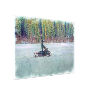 Cool Snowmobiler on Ice Lake Winter Sports Theme Canvas Print