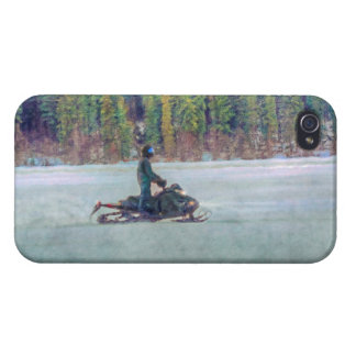 Cool Snowmobiler on Ice Lake Winter Sports Theme Cover For iPhone 4