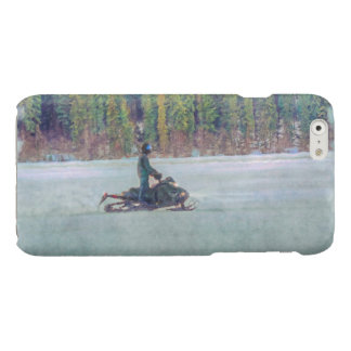 Cool Snowmobiler on Ice Lake Winter Sports Theme Glossy iPhone 6 Case