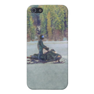 Cool Snowmobiler on Ice Lake Winter Sports Theme iPhone 5 Covers