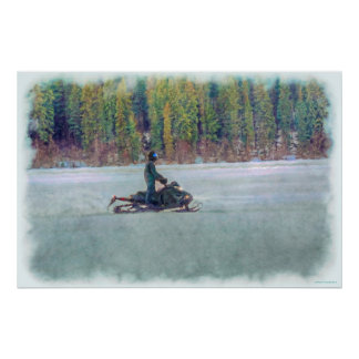 Cool Snowmobiler on Ice Lake Winter Sports Theme Poster