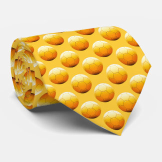 Cool Soccer Football Pattern Orange Neck Tie