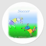 Cool soccer gifts for kids round stickers