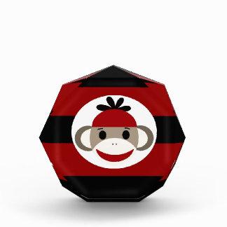 Cool Sock Monkey Beanie Hat Red Black Stripes Award