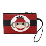 Cool Sock Monkey Beanie Hat Red Black Stripes Change Purse