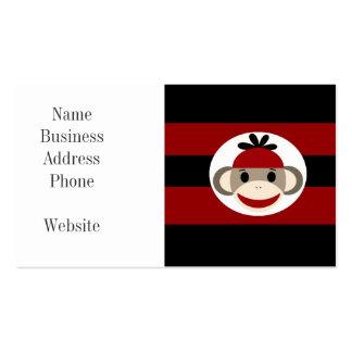 Cool Sock Monkey Beanie Hat Red Black Stripes Business Card