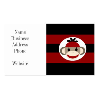 Cool Sock Monkey Beanie Hat Red Black Stripes Business Card Template