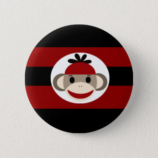 Cool Sock Monkey Beanie Hat Red Black Stripes Button