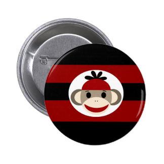 Cool Sock Monkey Beanie Hat Red Black Stripes Button