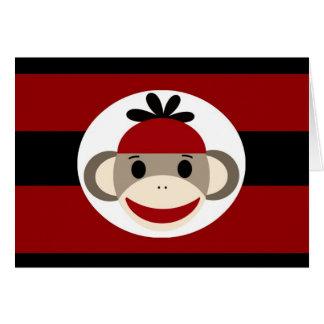 Cool Sock Monkey Beanie Hat Red Black Stripes Card