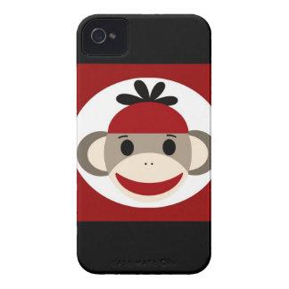 Cool Sock Monkey Beanie Hat Red Black Stripes iPhone 4 Case