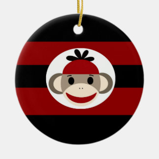 Cool Sock Monkey Beanie Hat Red Black Stripes Ceramic Ornament