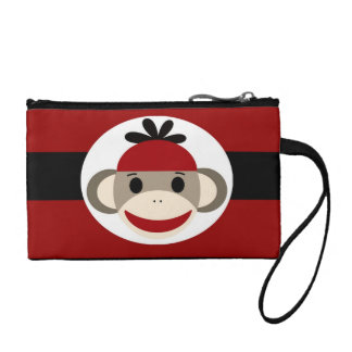 Cool Sock Monkey Beanie Hat Red Black Stripes Coin Wallet