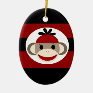 Cool Sock Monkey Beanie Hat Red Black Stripes Double-Sided Oval Ceramic Christmas Ornament