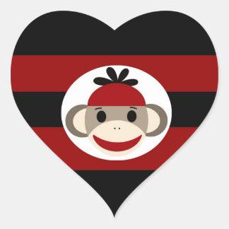 Cool Sock Monkey Beanie Hat Red Black Stripes Heart Sticker