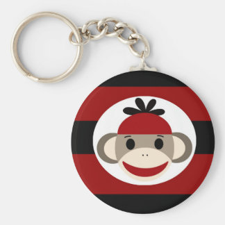 Cool Sock Monkey Beanie Hat Red Black Stripes Keychain