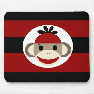 Cool Sock Monkey Beanie Hat Red Black Stripes Mouse Pad