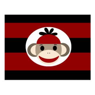 Cool Sock Monkey Beanie Hat Red Black Stripes Postcard