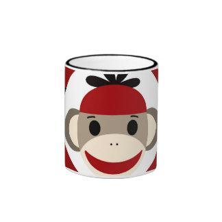 Cool Sock Monkey Beanie Hat Red Black Stripes Ringer Mug
