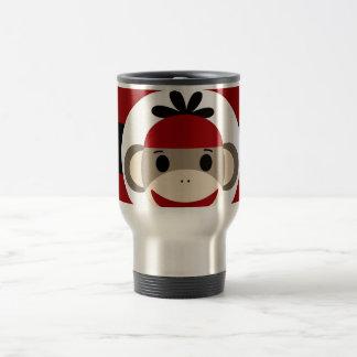 Cool Sock Monkey Beanie Hat Red Black Stripes Travel Mug