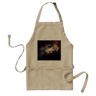 Cool Space Cat with Telescope Glasses in space Adult Apron