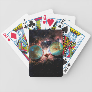 Cool Space Cat with Telescope Glasses in space Bicycle Playing Cards