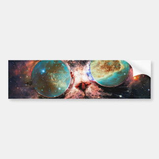 Cool Space Cat with Telescope Glasses in space Bumper Sticker