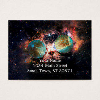 Cool Space Cat with Telescope Glasses in space Business Card