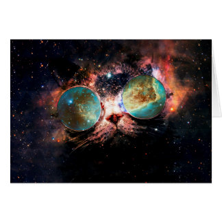 Cool Space Cat with Telescope Glasses in space Card