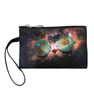 Cool Space Cat with Telescope Glasses in space Change Purse