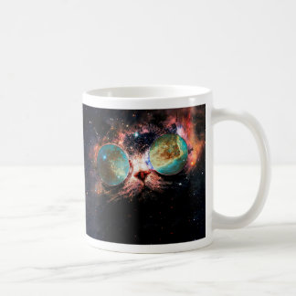 Cool Space Cat with Telescope Glasses in space Coffee Mug