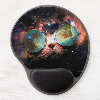 Cool Space Cat with Telescope Glasses in space Gel Mouse Pad