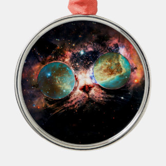 Cool Space Cat with Telescope Glasses in space Metal Ornament