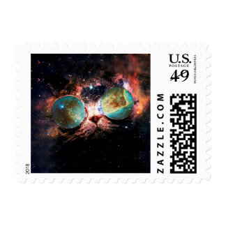 Cool Space Cat with Telescope Glasses in space Postage Stamp
