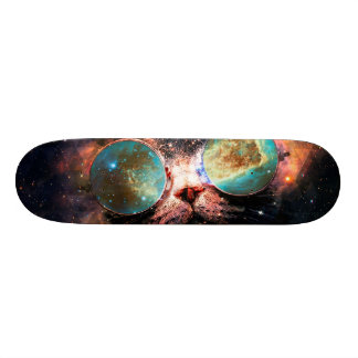 Cool Space Cat with Telescope Glasses in space Skateboard Deck