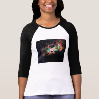 Cool Space Cat with Telescope Glasses in space T-Shirt