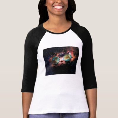 Cool Space Cat with Telescope Glasses in space Tee Shirts