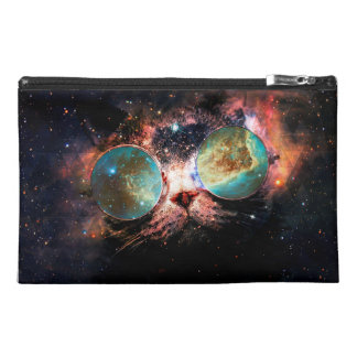 Cool Space Cat with Telescope Glasses in space Travel Accessory Bag