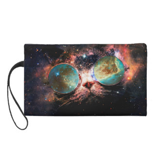 Cool Space Cat with Telescope Glasses in space Wristlet Purse