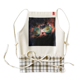 Cool Space Cat with Telescope Glasses in space Zazzle HEART Apron