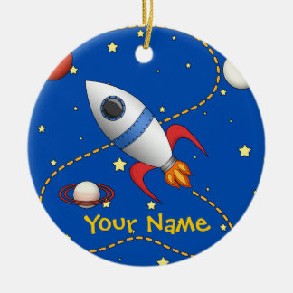 Cool Space Rocketship in Orbit Cartoon Ceramic Ornament