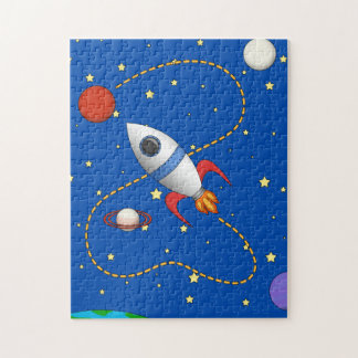 Cool Space Rocketship in Orbit Cartoon Jigsaw Puzzle