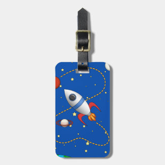 Cool Space Rocketship in Orbit Cartoon Luggage Tags