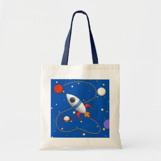 Cool Space Rocketship in Orbit Cartoon Tote Bag