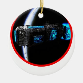Cool Spaceship Double-Sided Ceramic Round Christmas Ornament