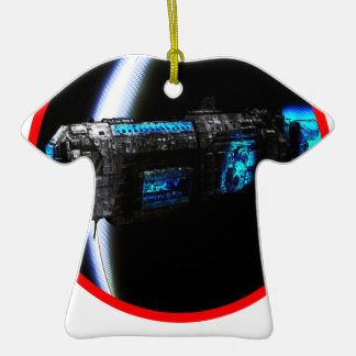 Cool Spaceship Double-Sided T-Shirt Ceramic Christmas Ornament